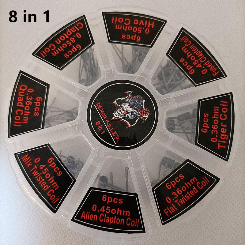 Demon Killer 8 in 1 48pcs Set Kit Heating Wires Alien Clapton Prebuilt Coils Resistance For Atomizer Tank Premade Wrap