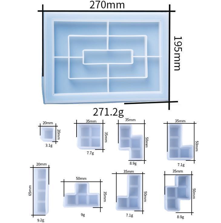 ZB01 Clear Tetris Stampo in silicone per Crystal Epossidy Stampo Resina Decorazione Della Casa Bambini gioco Gioco Stampi Decorazione Della Casa Decorazione FAI DA TE Gioielli fai da te Sqceix