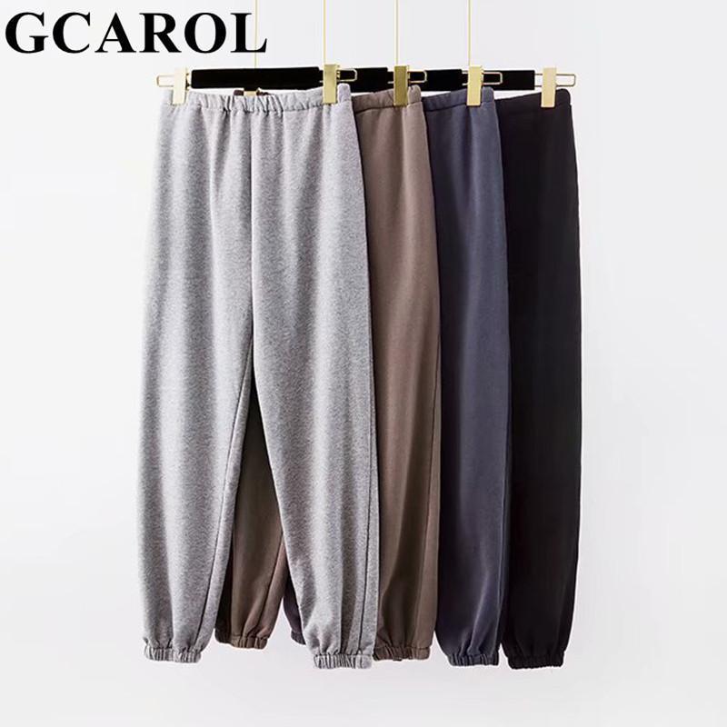 GCAROL Новые женские махровые хлопковые сочетания Свободные брюки гарема высокие эластичные талии спортивные брюки негабаритные модные спортивные штаны 201109