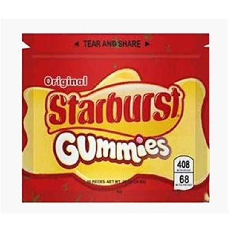 Hot Starburst Gummies Mylar Bolsa 408mg Ecomitues vacíos Paquete Paquete Bolsa de almacenamiento de cremallera para envases al por menor