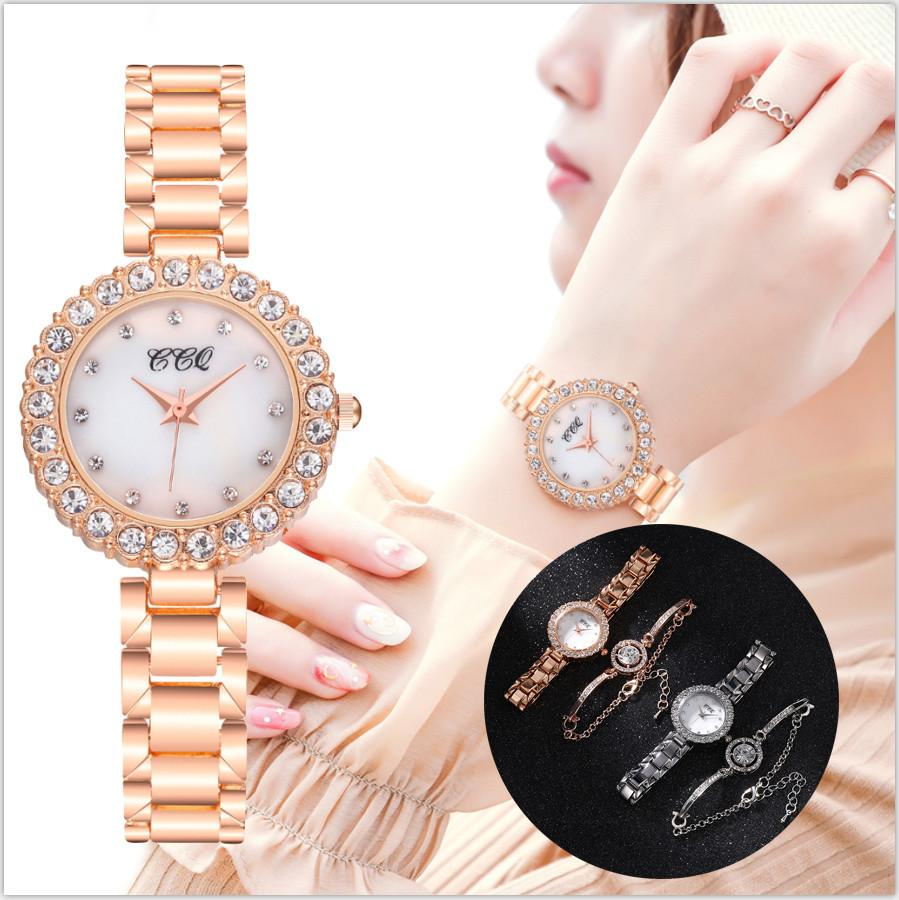 Bracelet and Watches Women CCQ Luxury Crystal Casual Wristwatch Quartz Stainless Steel Newv Strap Bracelet Watch Set Reloj MujerQ0108