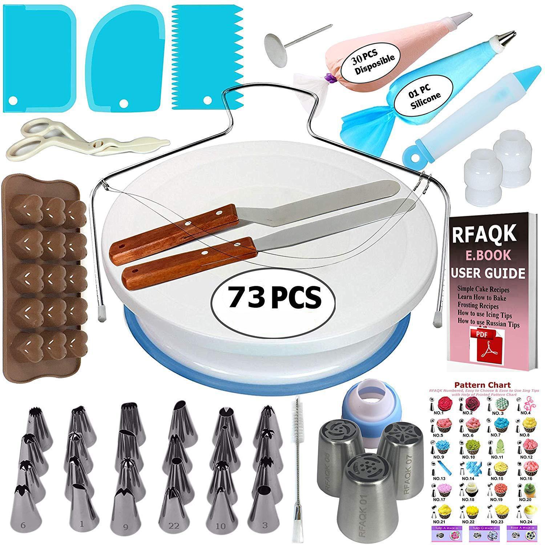 73 adet Kek Araçları Set Turntable Dekorasyon Dekorasyon Kek Kalıpları Set Dekorasyon Masa Fondan Pişirme Aracı XD24312