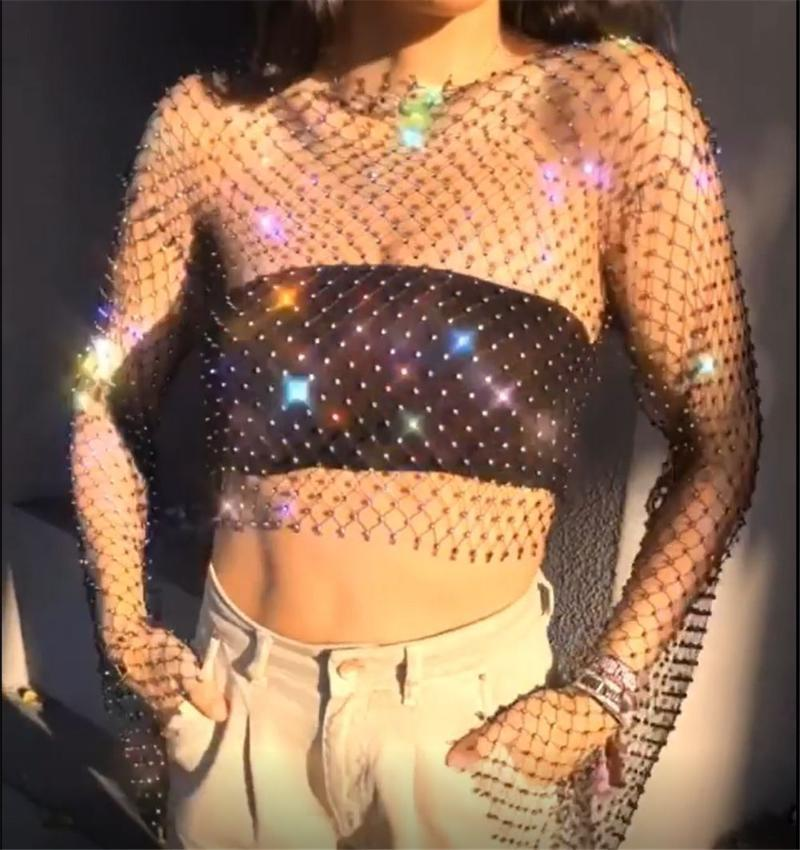 Sexy Mesh strass Summer Y2K Top Y2K Festival Festival Noir Blanc Perspective Courts Tops Mujer Club Party Diamonds Débardeurs 2020