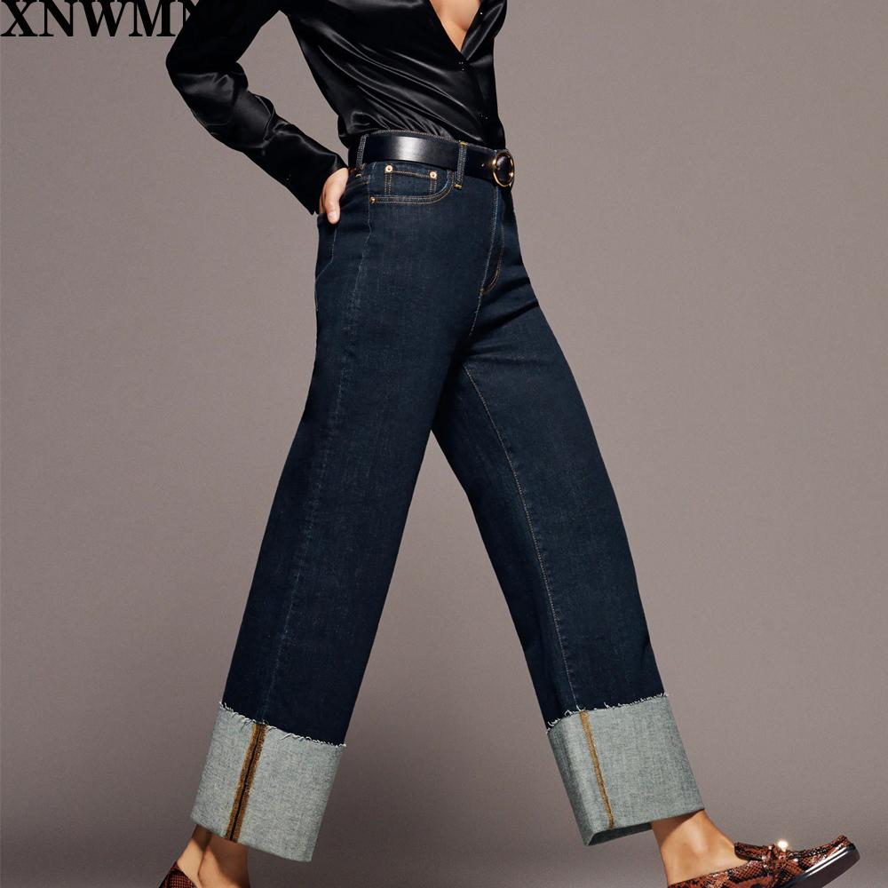 Xnwmnz za Женщины осень зима выцветая высокая талия джинсы кармана широкогазовый подъезд HEMS ZIP муха мода повседневные джинсовые штаны 210203