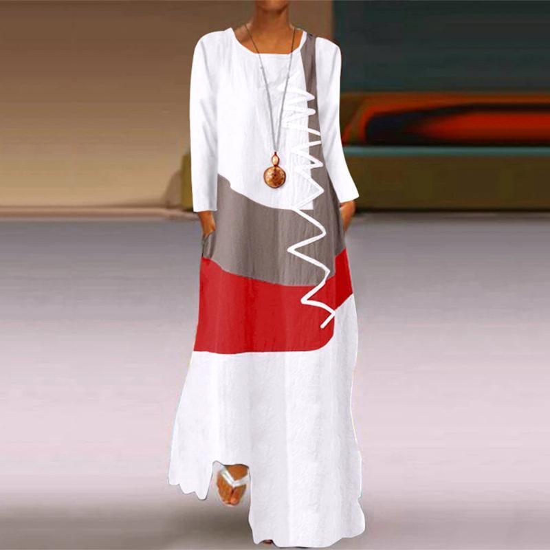 Kadın Elbise Patchwork Sundress Maxi Elbise Kaftan Rahat Uzun Kollu Tunik Vestido Kadın Kadınlar Güz 2021 Bahar