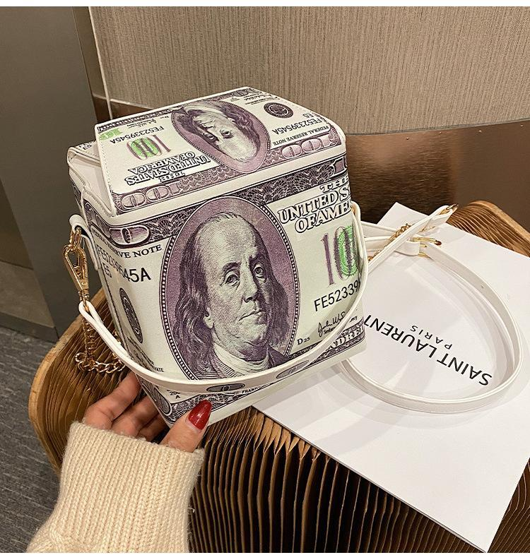 Borsa da donna PU Messenger Borsa da donna 2020 New Fashion Creativity Dollars Stampa Borsa a tracolla Donna Catena Crossbody Donne Borsa
