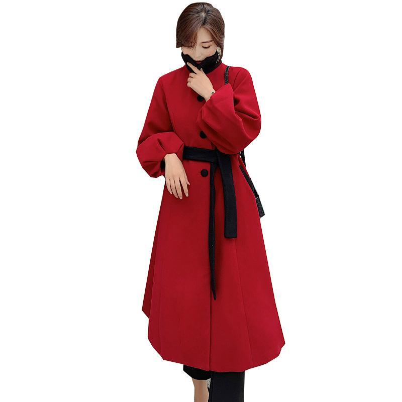 2020 Vermelho Longa Lanterna Singer Cantor-Breasted Casual Plus Size Lã De Queda Casaco Elegante senhoras Outono Winter Woolen Women's Casaco