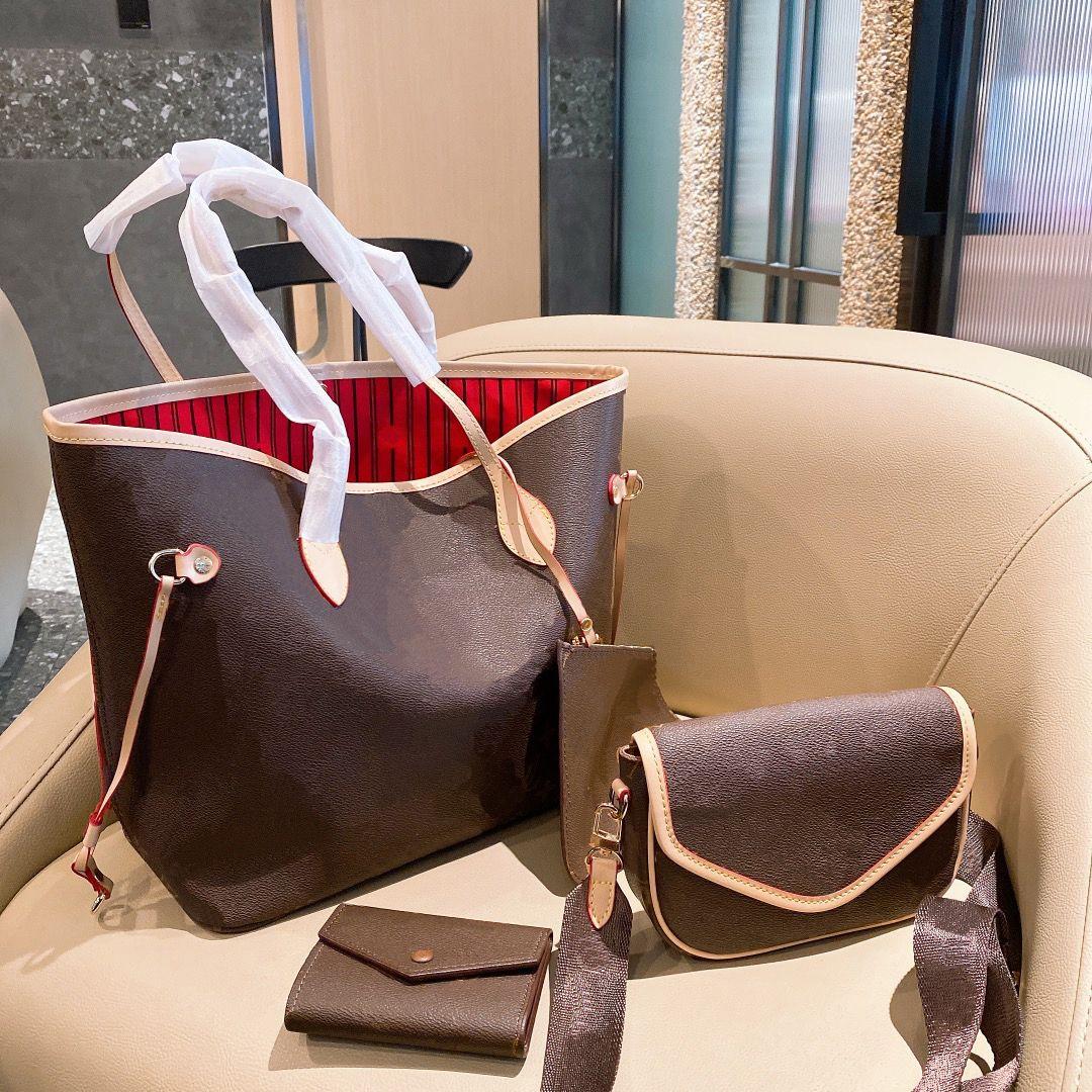 حقيبة تسوق سعة كبيرة المرأة 21 تصميم جديد الرجعية إلكتروني حقيبة يد الأزياء مع Straddle الحقيبة محفظة 3 قطعة مجموعة WF2101301