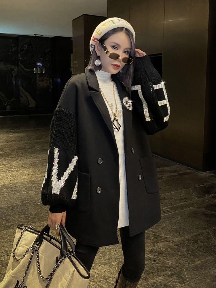 Woolen women's new winter 2020 heavy industry hot drill temperament show thin suit, wool coat fashion