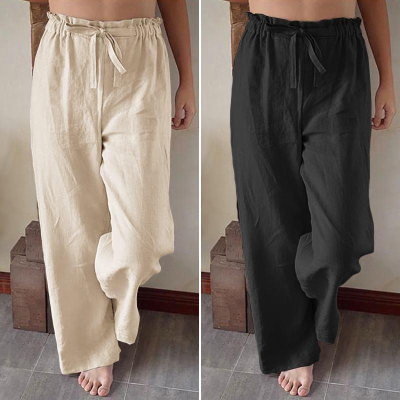 ZANZEA 2020 Kaftan Wide Beinhosen Beiläufige Hohe Taille Pantalon Palazzo Weibliche Feste Turnip Plus Größe Frauen Sommerhose 5xl 7