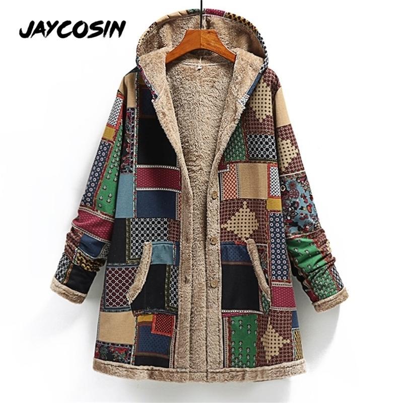 Jaycosin Winter women women cappotto con cappuccio cashmere addensare manica lunga giuntura di grandi dimensioni giacca retrò allentato Abrigos Mujer invieri y201012