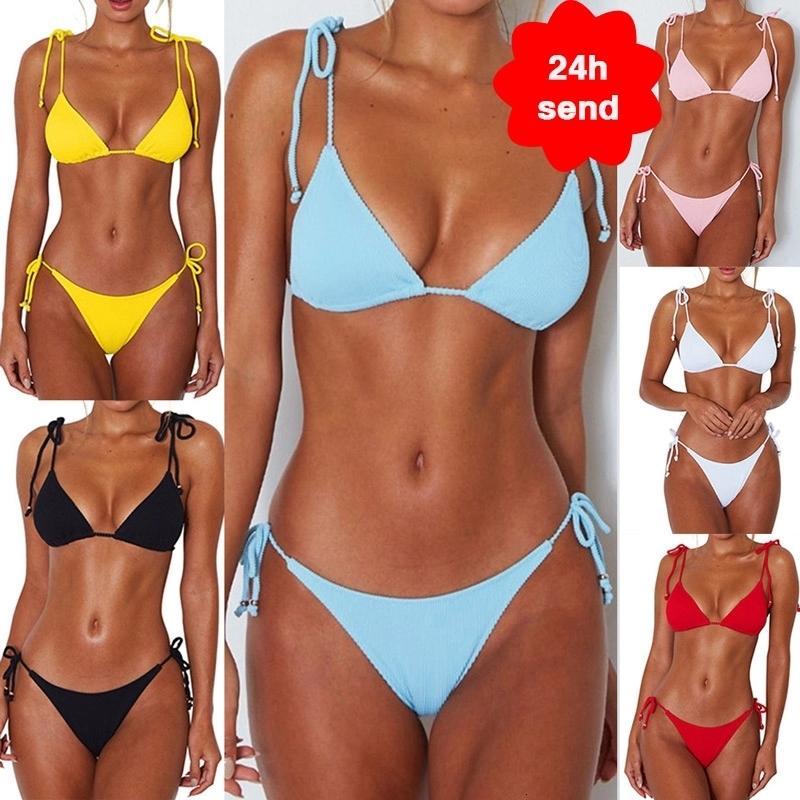 2020 النساء الأزياء مبطن البرازيلي بيكيني مجموعة ملابس السباحة السيدات الصلبة ضمادة دفع مثلث ملابس السباحة الاستحمام الدعاوى biquini ملابس السباحة