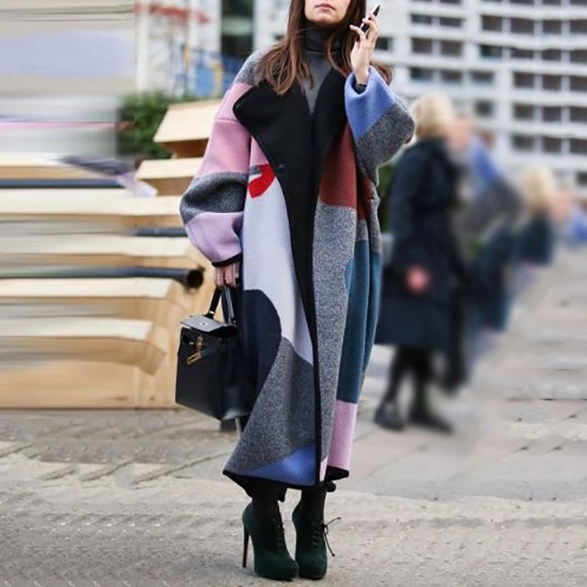 Ubno 검은 여자 코트 벨트 여분의 긴 여자 hipster 자 켓 코트 겨울 겉옷 오버 코트 대형 양모 코트