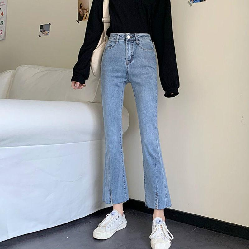 Blue Front Slit Bell Bottom Jeans Women Elastic Skinny Flare Jeans Girl Denim Flare Pants Streetwear Ankle-Length Trousers W0104