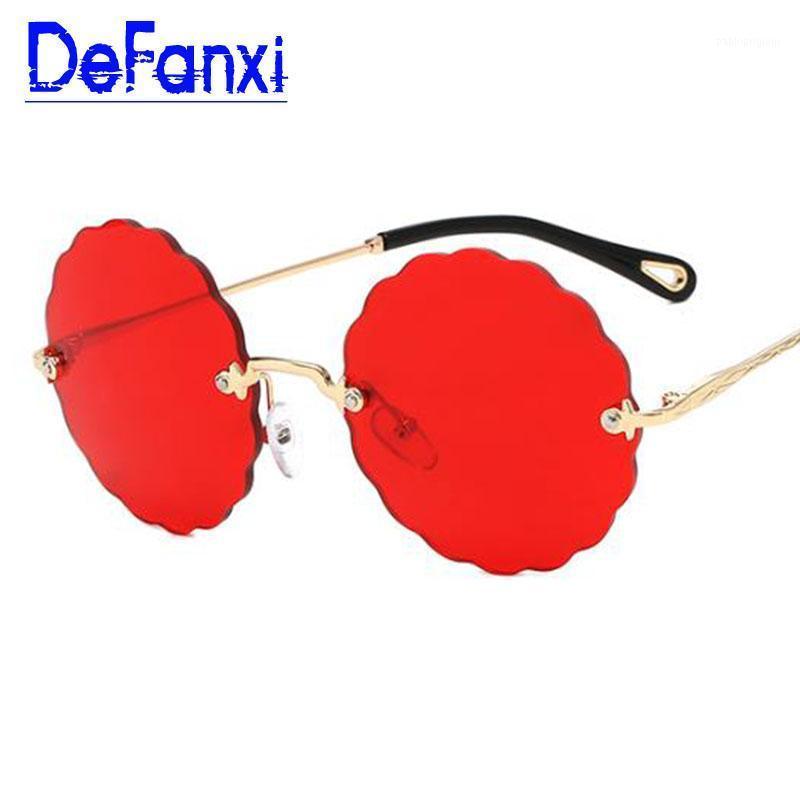 Güneş Gözlüğü Çerçevesiz Kırmızı Yuvarlak Boy Tonları Temizle Lens Moda Marka Kadın Erkek Çiçek Şekilli Gözlük Yüksek Kalite1