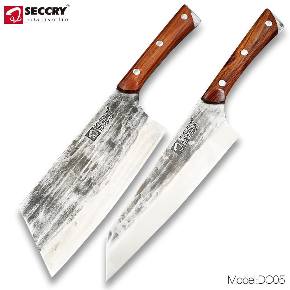 Seccry El Yapımı Dövme 5Cr15MOV Çelik Mutfak Bıçaklar Meyve Bıçakları Şef Bıçak Balta Bıçak Dilimleme Bıçak Pişirme Araçları Keskin DC05