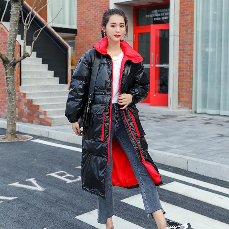 Korean New Long-sleeve 2020 inverno Donne Lungo Anatra bianca Anatra bianca lunga calda giacca parka spessa J2L6