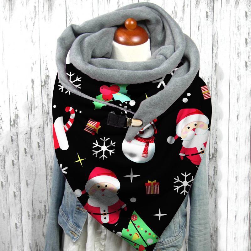 40 # Navidad Santa Claus Impresión de bufandas Lindo invierno otoño casual cálido chal bufanda regalo cómodo multiusos chal shal bufanda