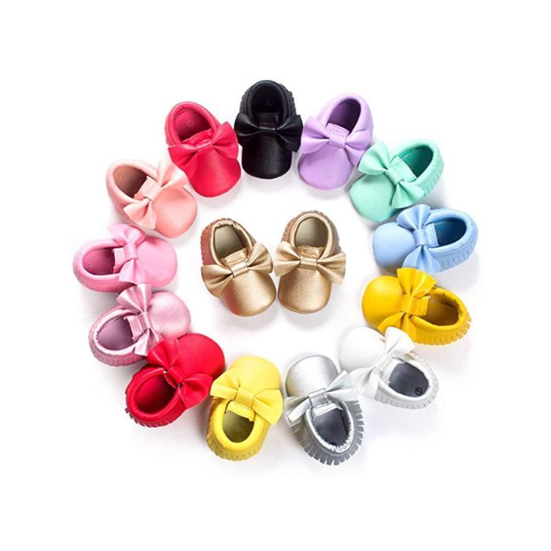 Первые ходунки младенческие девочки девочек лук узлы кисточкой предыдущая обувь мода PU девушка родился малыш мальчик мягкий подошвы