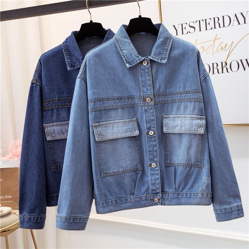 4XL плюс большой размер куртки женщин весна осень зима 2020 феминистка джинсовые короткие пальто женские свободные джинсовые куртки A53431