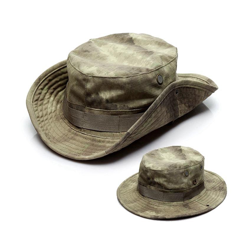 Tactical Boonie Chapéu Pescador Treinamento Sol Protetor Chapéus Ao Ar Livre Esportes Camuflagem Pesca Hiking Cap