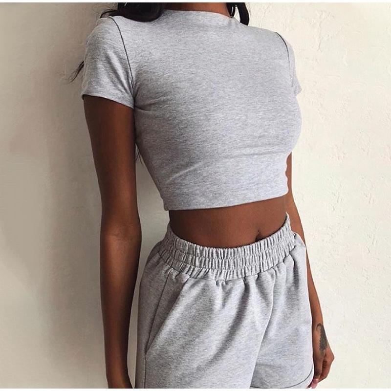 2020 Yaz Eşofman Takım Elbise Kadınlar Rahat Katı Kısa Kollu Üst Ve Şort Eşofman Kadın Moda Streetwear Ince Lady Giysileri T200704