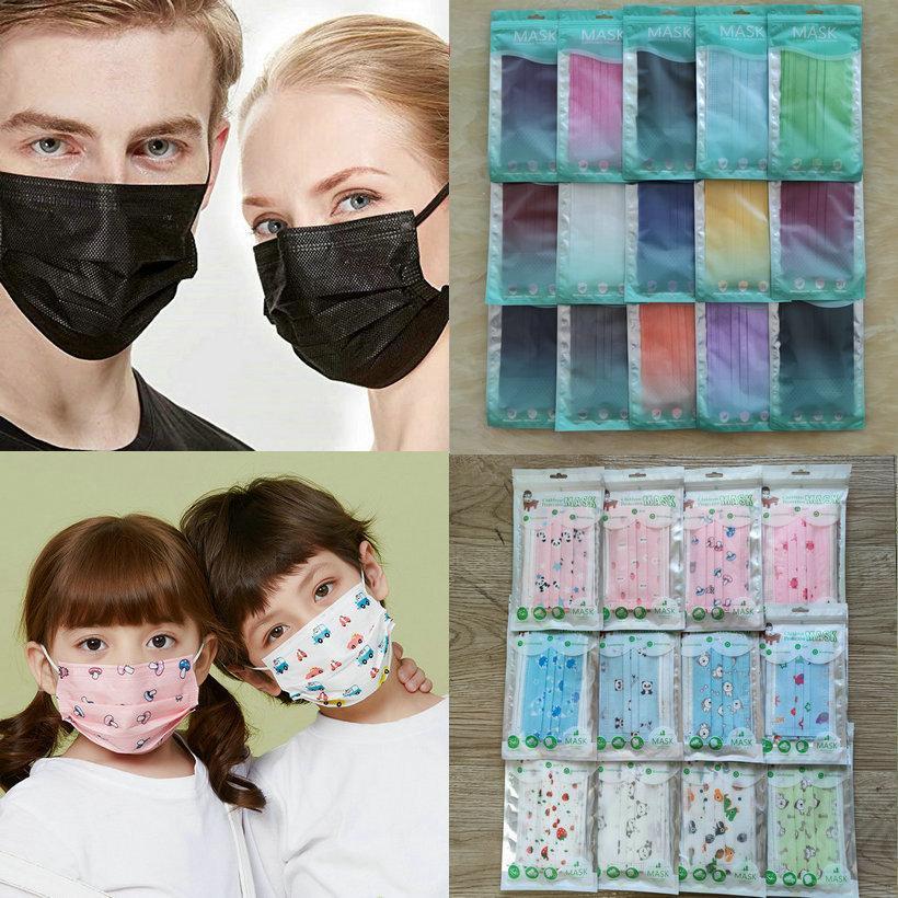 15 couleurs mode Face Mask 50 PCS paquet de détail 3 couches jetables Masque de protection non-tissé adulte anti-poussière enfants mascarilla mascherina