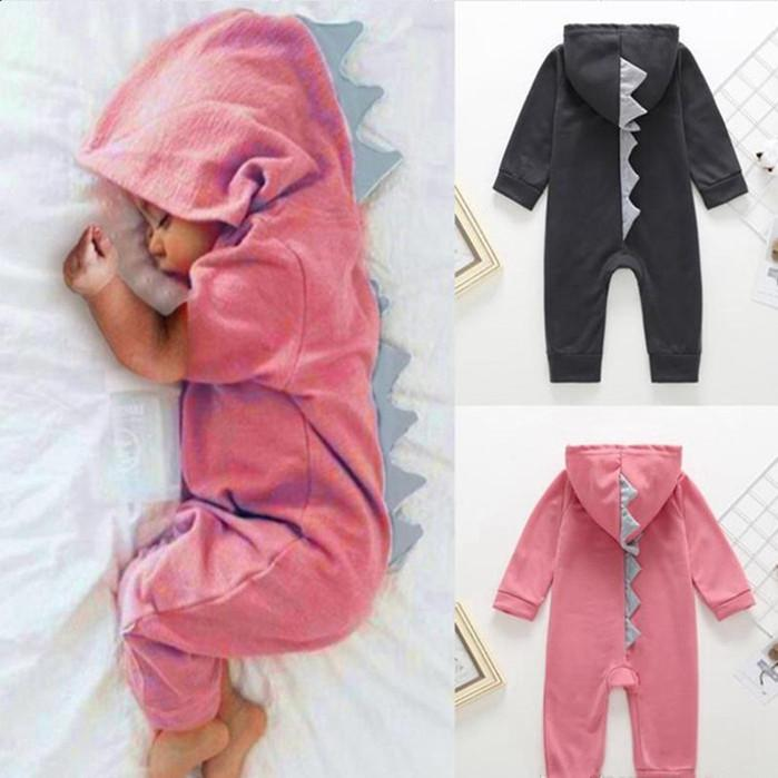 Baby Clothes Infant Boy Dinosaur Hoodie Romper Zipper Toddler Girls Jumpsuit Cartoon Child Outfit Boutique Baby Clothing 3 Colors YHM156-1
