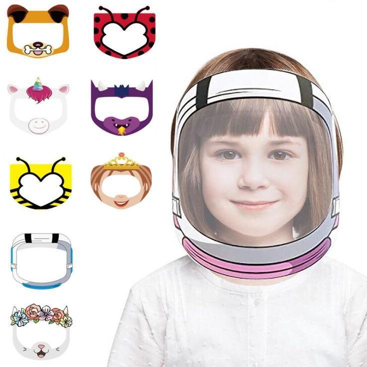 Cartoon Face Shield Anti-Nevoeiro Isolamento Máscara Full Face Máscara Protetora Transparente Pet Anti-Splash Gotas Cabeça Capa OWA2569