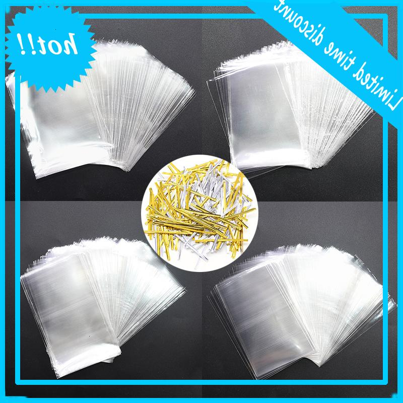 100 pile / batch Candy Lollipop Cookies Clear Up Sacchetti di plastica Sigillatura Twists Packaging Cellophane Wedding Party Corsa veleno