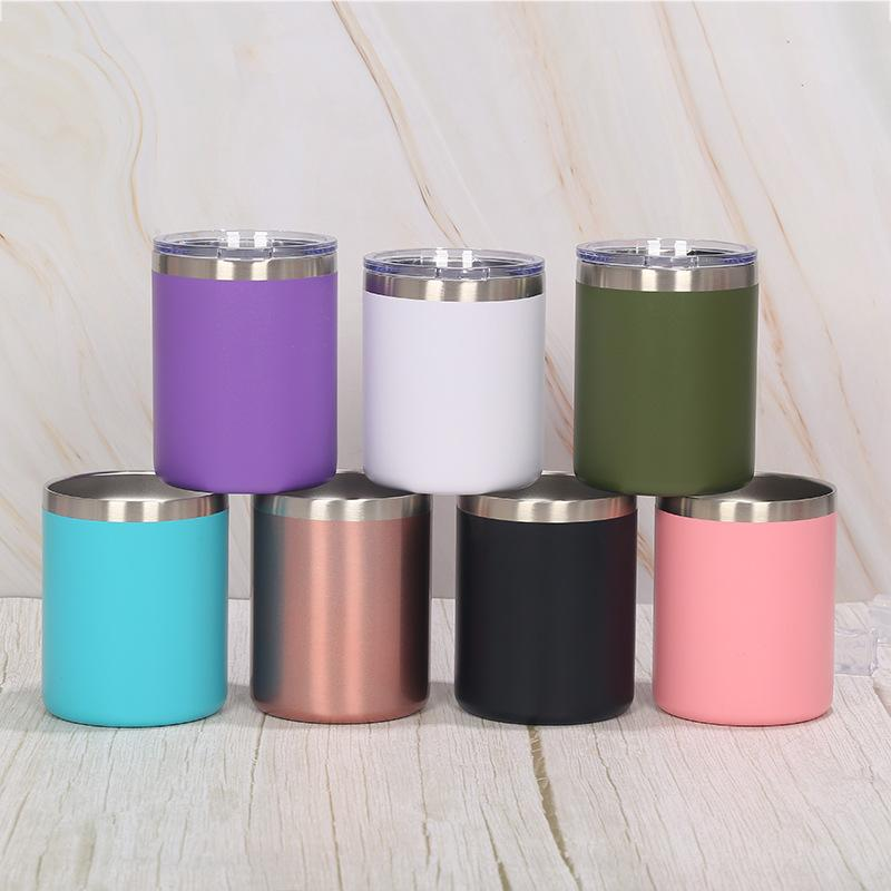 Portable 10oz Tumblers Mug Stainless Steel Double Wall Vacuum Insulated Cold Hot Coffee Mugs Solid Color Travel Mugs SEA SHIPPING EFE3747