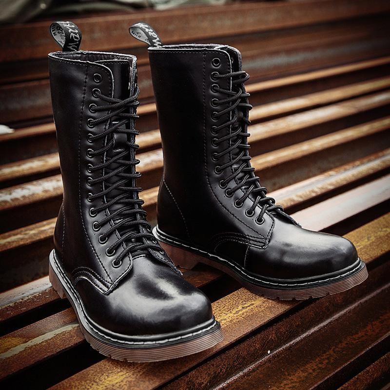 2021 Invierno Clásico de 14 ojos Mujeres Unisex Boots Impermeable Piel Negro High Top Smooth Leather Man Hombre Moda Motocyle Botas Zapatos