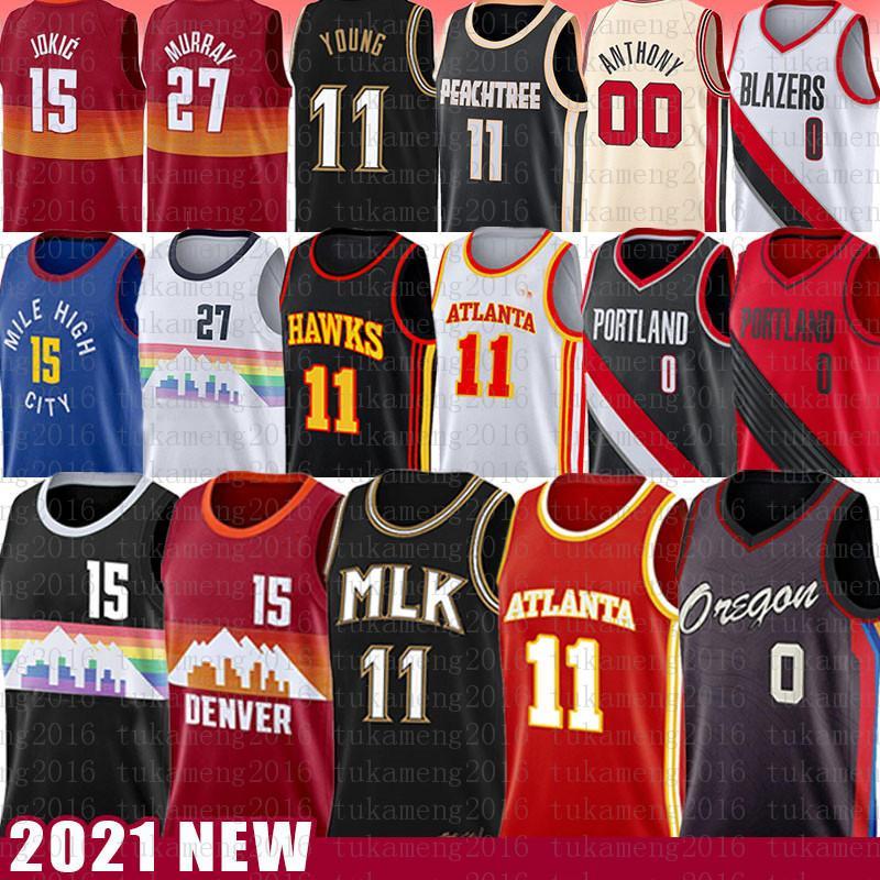 Nikola Damian 0 15 Lillard Jokic Trae 11 Jeune Jersey Basketball Jamal 27 Murray Retro Mesh 2021 Nouveau Jerseys