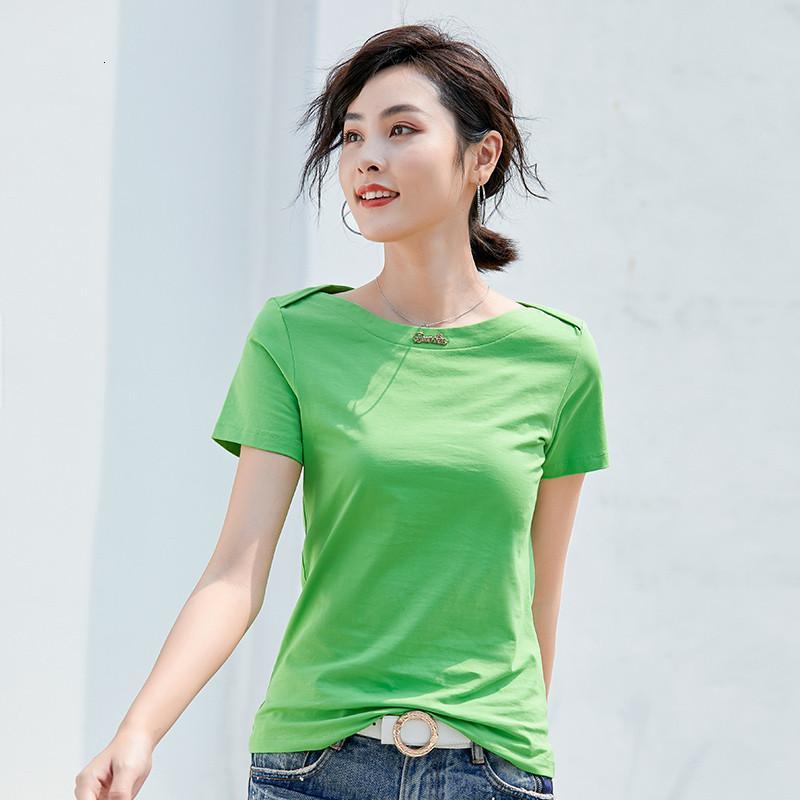 Camiseta de color sólido Cuello horizontal Estilo coreano Verano 2020 Nuevo Nuevo Slim-Fit Slim-Fit Plus Tamaño Pullover Top Mujeres