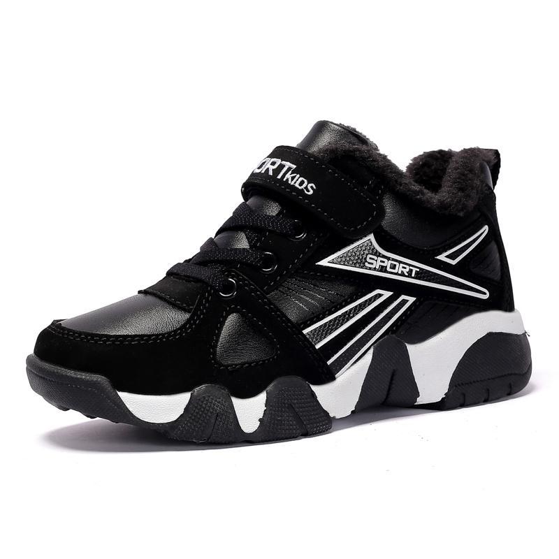 Inverno Meninos Sneakers Crianças calçados casuais para meninos Shoes caçoa as sapatilhas das meninas sapatos de pelúcia de couro morno estudante da escola de Moda Y1117