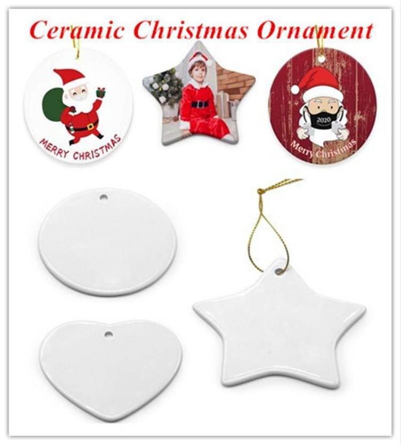 Blanks sublimazione ornamento in ceramica 2021 ceramica ornamento natalizio ornamentato personalizzato ceramica ornamenti fatti a mano per per l'albero di Natale