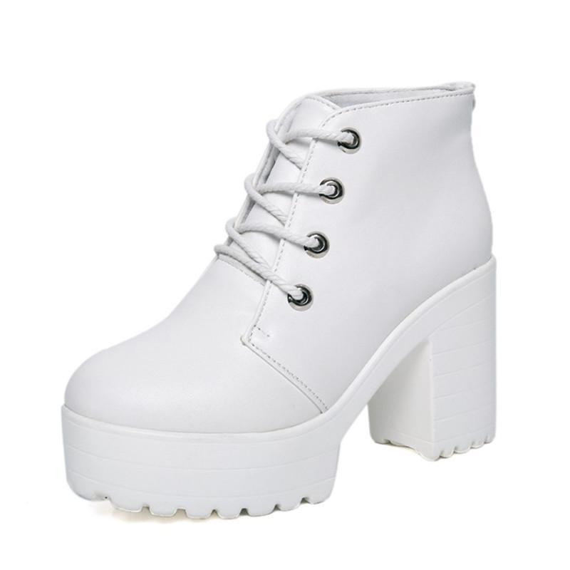 Stivaletti da donna Stivaletti 2020 Primavera Autunno Donne Punk Lace Up Piattaforma Creepers Bianco Black Solid High High Shoes Shoes Pompe donna 35-39