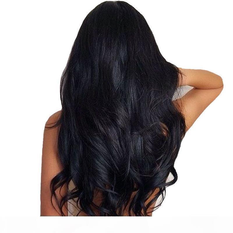 Brasileño Indio ola ola de pelo humano basura de seda de lácteos de cordones de encaje ajustable pre-arrancado pelucas sin gloturas mujeres negro al por mayor