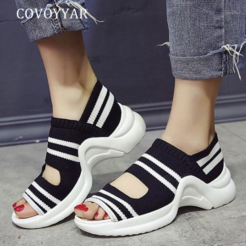 Sapatos de vestido Covoyyar 2021 Sandálias de salto de verão Mulheres de tricô Grosso Plataforma de fundo Gingham Elastic Band Mulher Casual WSS4471