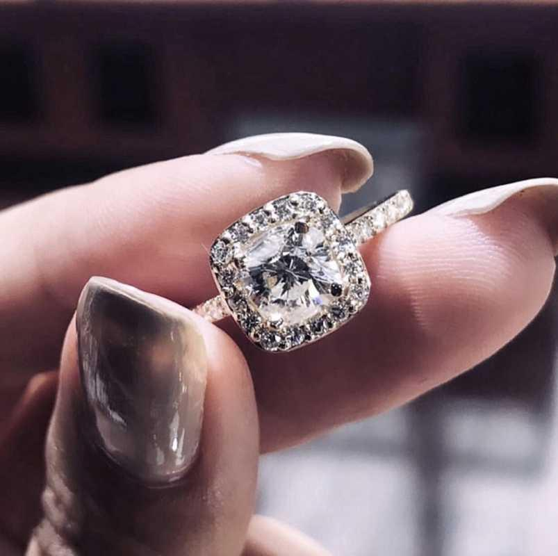 Éternel 925 Silver De Mariage Anneaux pour Femmes 2ct Diamant simulé Diamant Simple Bijoux classique Mariage Mariage Engagement Bijoux Femme