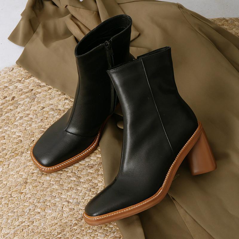 2020 Yeni Kış Ayak Bileği Çizmeler Kadın İnek Deri Ayakkabı Tırnak Med Topuklu Patik Kadınlar Kare Toe Bayanlar Ayakkabı Fermuar Hakiki Deri