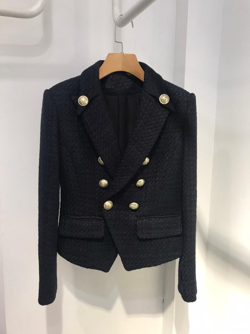 2020 Nuove donne Giacca di lusso Tweed Giacca Blazer Femmina Alta Qualità Doppi Bresed Coat Capispalla GDNZ 9.07