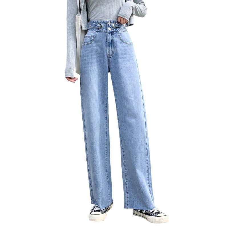 المرأة الجينز امرأة عالية الخصر ملابس واسعة الساق الدينيم الملابس الشارع الشهير الجودة 2021 الخريف الأزياء المتناثرة السراويل فضفاضة OK553