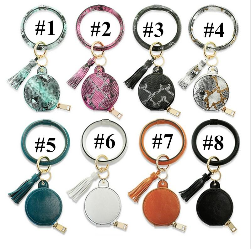Earphone Bag Ring Wrist Wristband Wristlet Tassel Key Bracelets Leather Warp Keychain Bangle PU Bracelet E121006 Circle Key Ring Anti-l Tibg