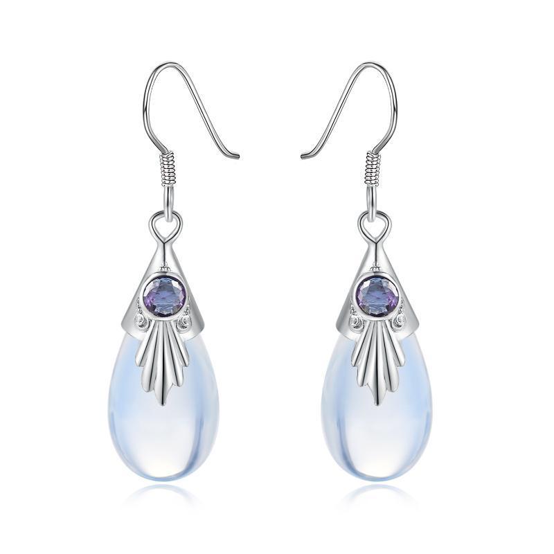 KAE235 joyería doble Feria gotas de agua Estilo Luna de piedra pendientes de gota para las mujeres Piercing color plata del regalo para las muchachas de moda