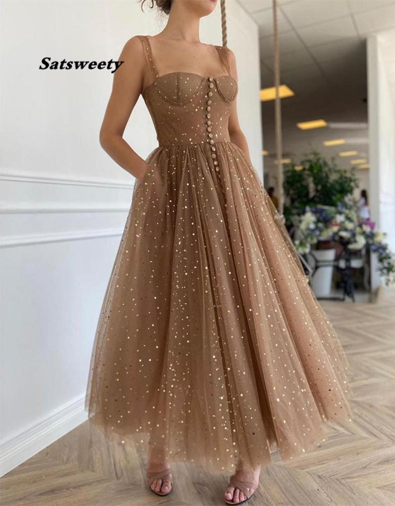 Glittering Stars Sequined Prom Dresses A Line Sweetheart Short Prom Dress Ankle Length vestidos de cóctel