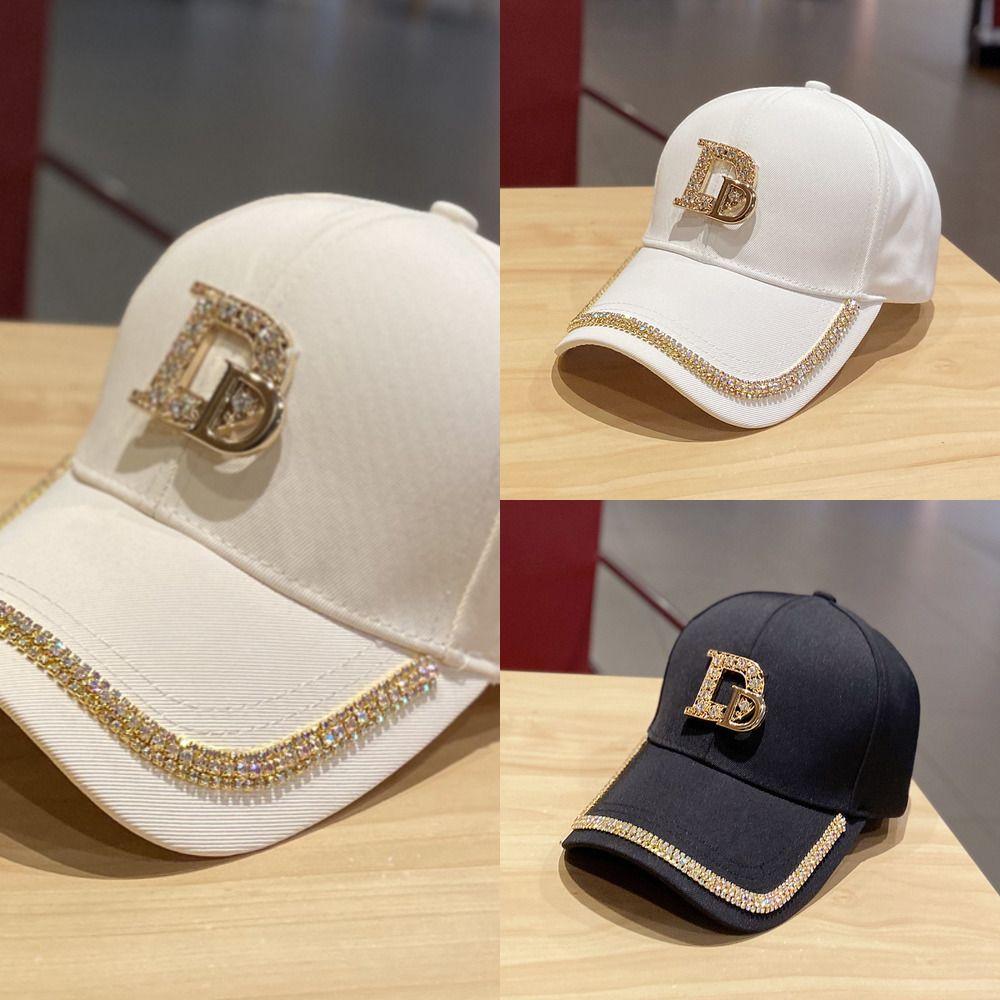 2020 Yeni Metal Mektup M Kadın Beyzbol Şapkası Nefes Örgü Açık Ayarlanabilir Işlemeli Rhinestone D Mark Şapkalar Yaz Sunhat J1210