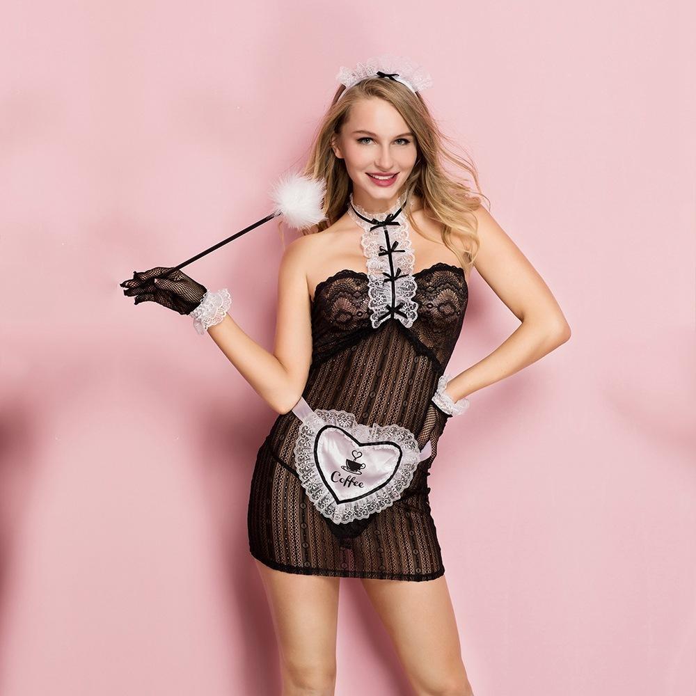 Cosplays Maid Uniform Пол Черный пять для женщин Эротические порно косплей костюм белье