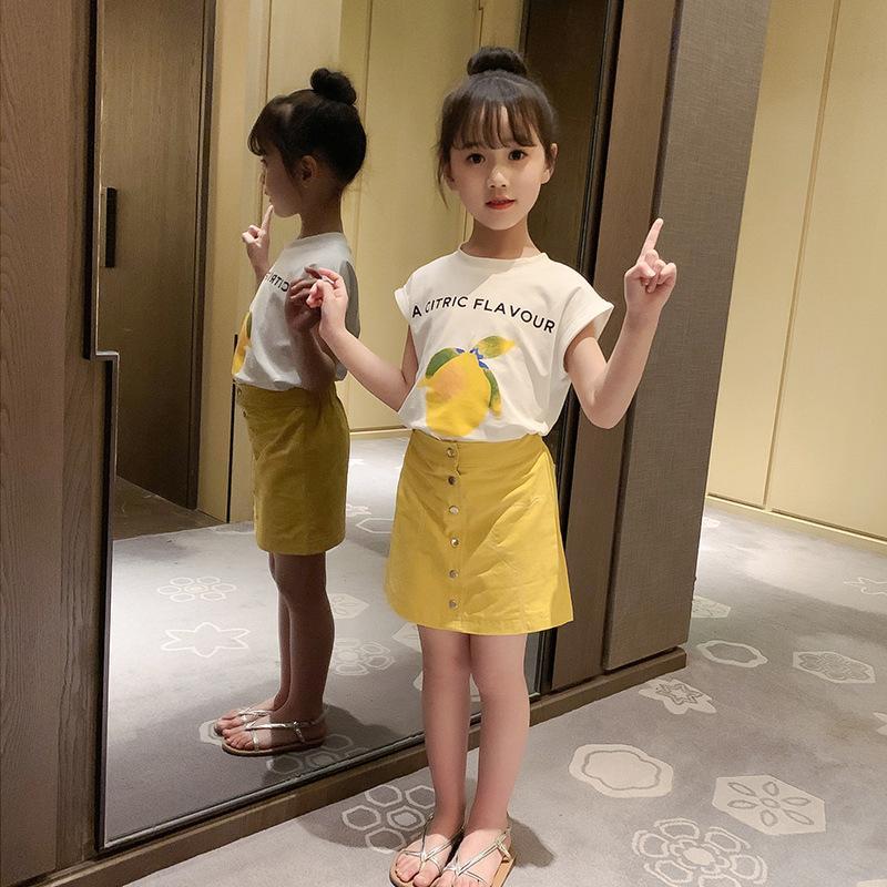 Летние Дети Девушка Лимонная футболка + Юбка набор 2 шт. D11.04 201126