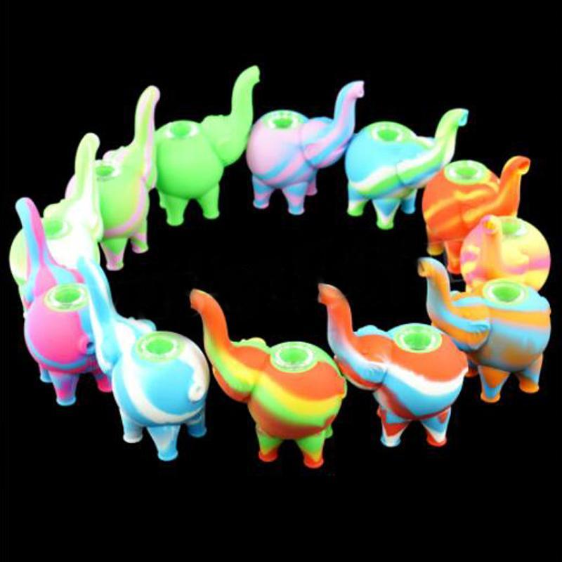 Tubi colorati a forma di elefante Nuovo Camouflage creativo Staccabile Sigillatura Sigillatura del tubo del fumo Accessori per sigarette in silicone Tubi VT1970